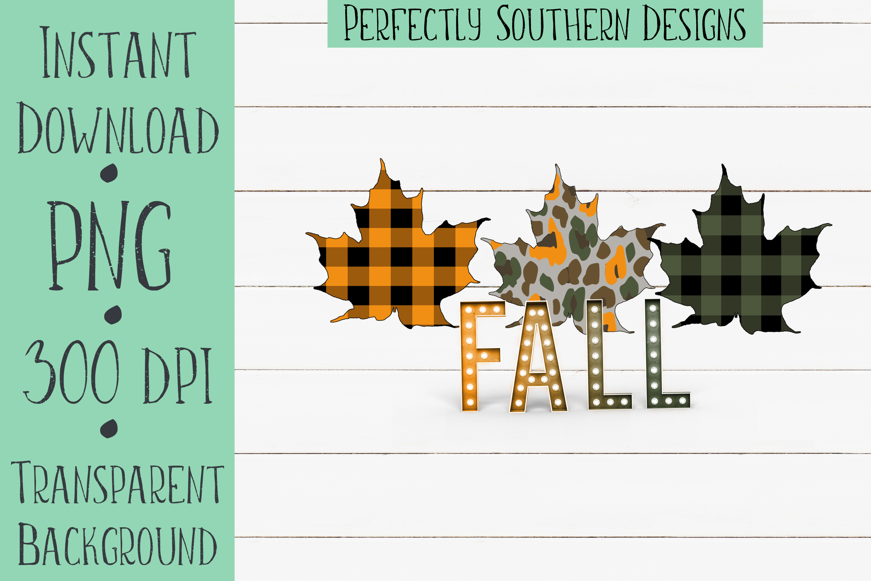 Fall leaves with plaid example image 1