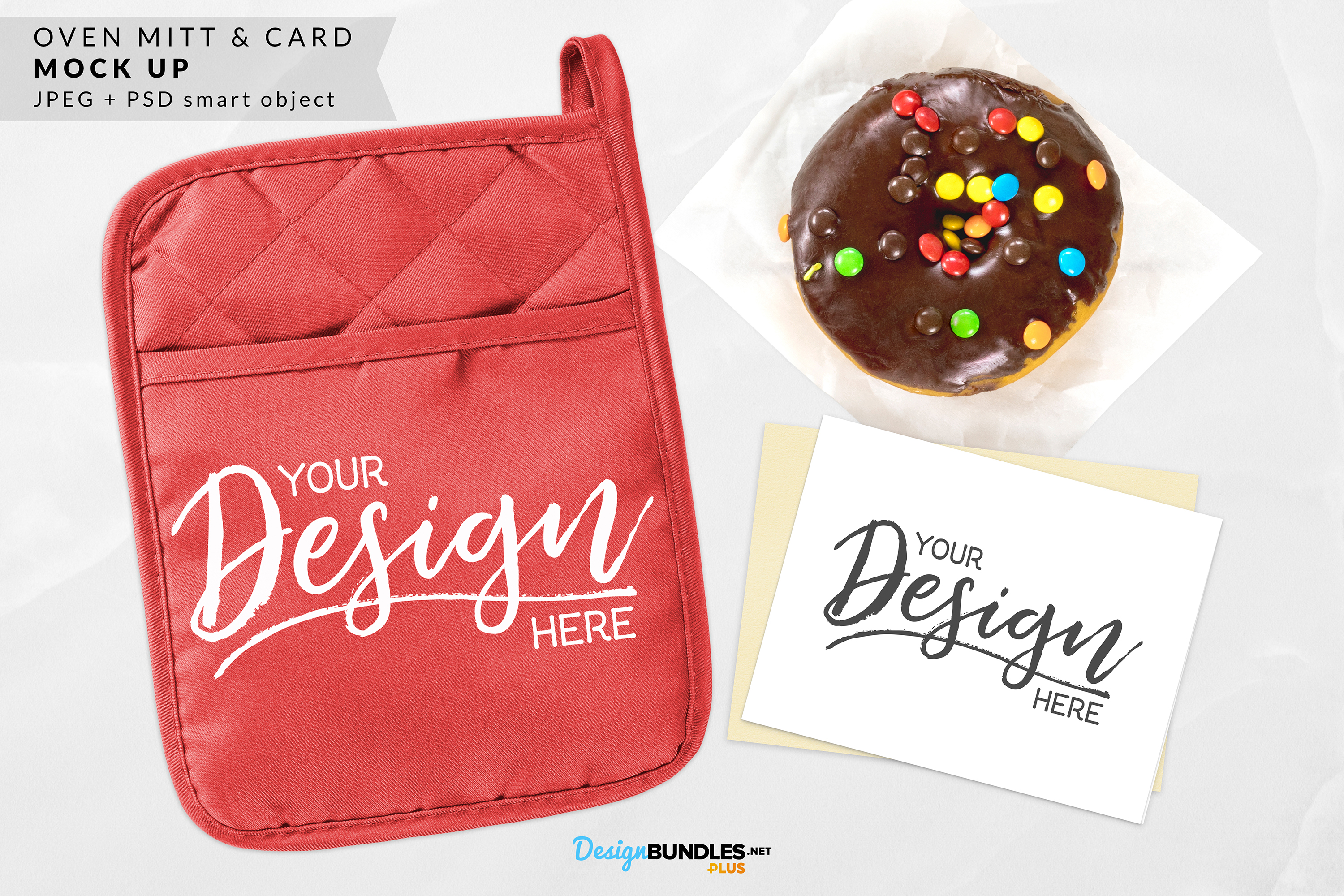 Red & Gray Oven Mitt & Card Mock ups example image 2