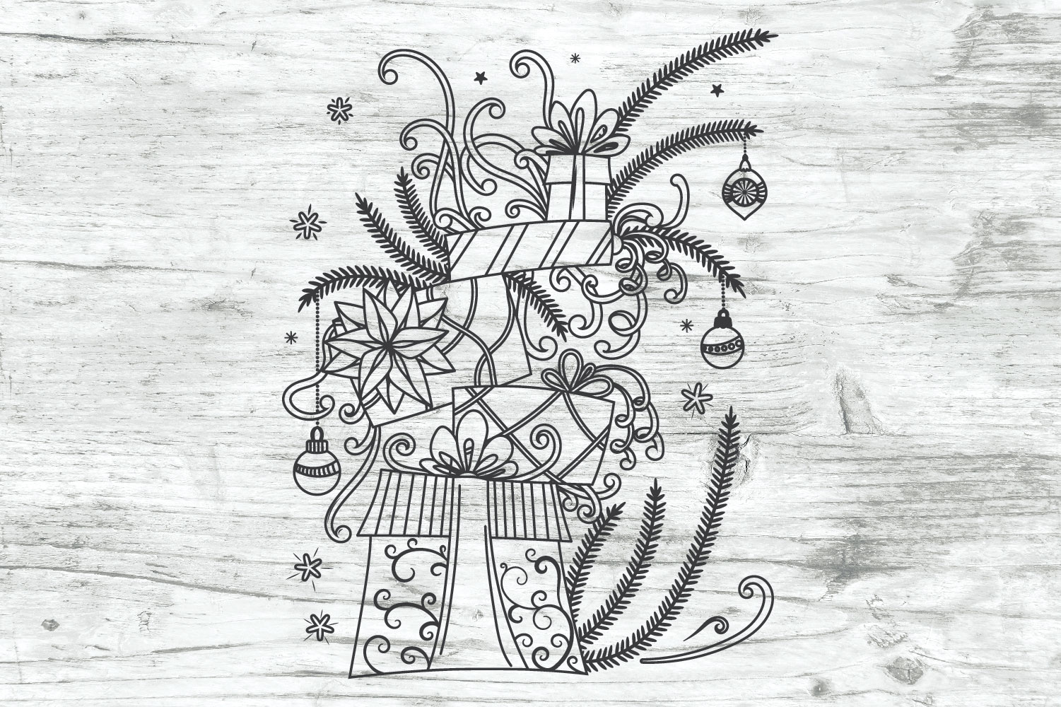 Christmas Gifts Doodles SVG example image 2
