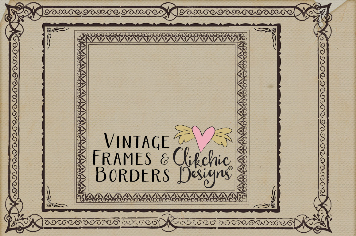 Vintage Frames and Borders plus Photoshop Brushes example image 4