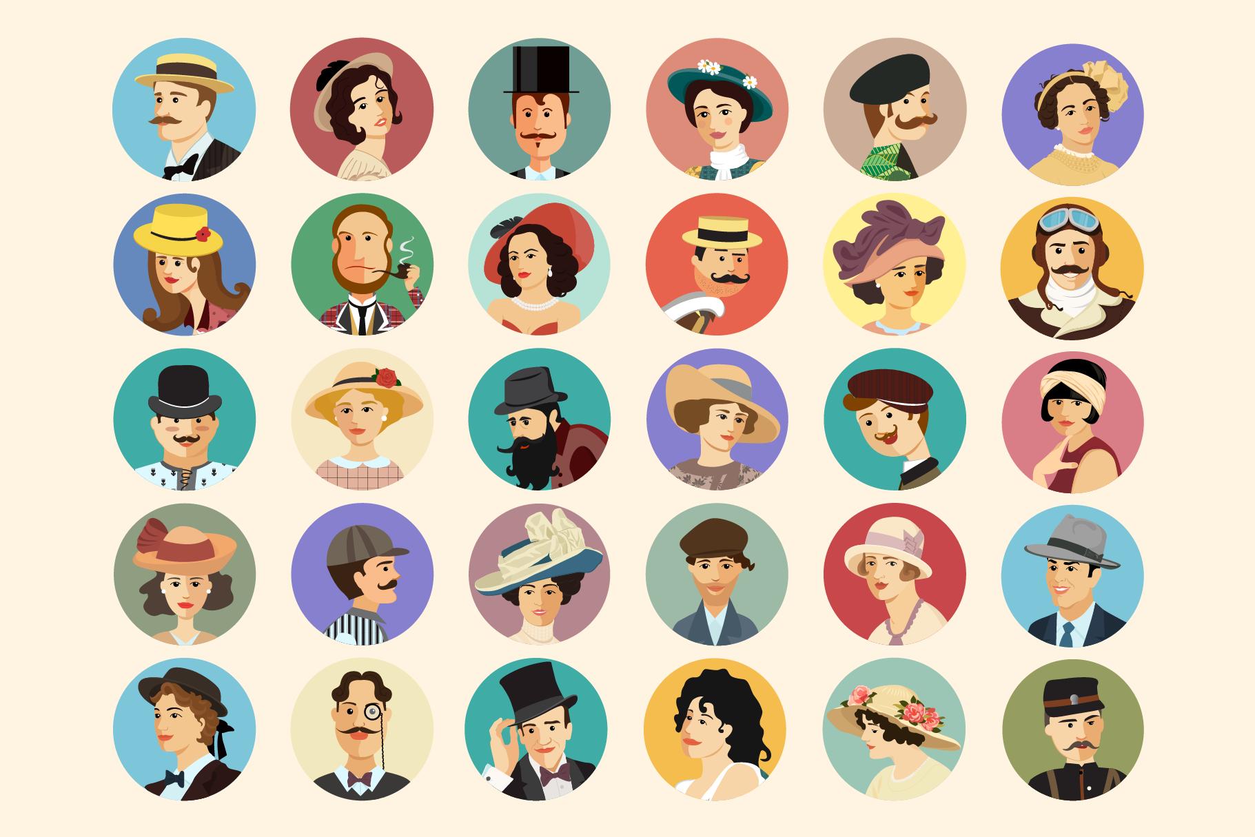 Avatars Retro people vector cartoon example image 2
