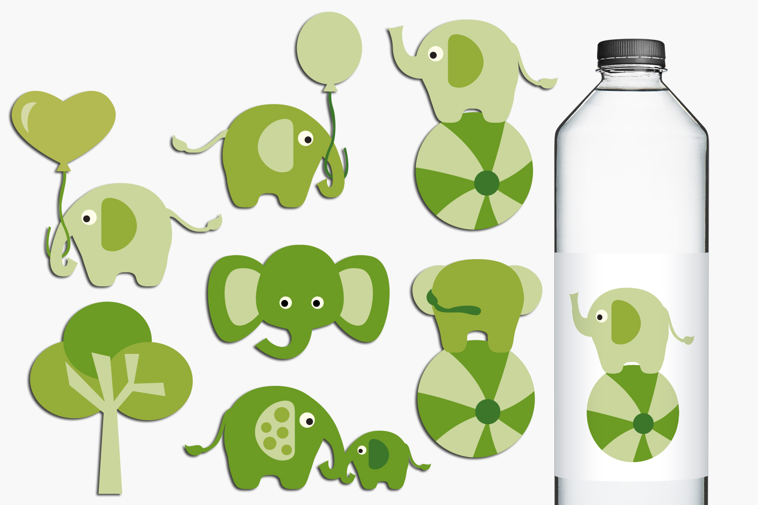 Green circus elephants illustations example image 1