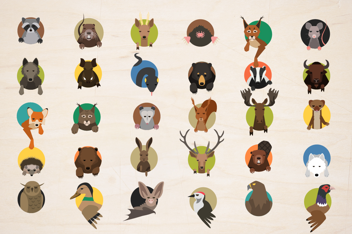 Vector Forest animals 30 icons  example image 5