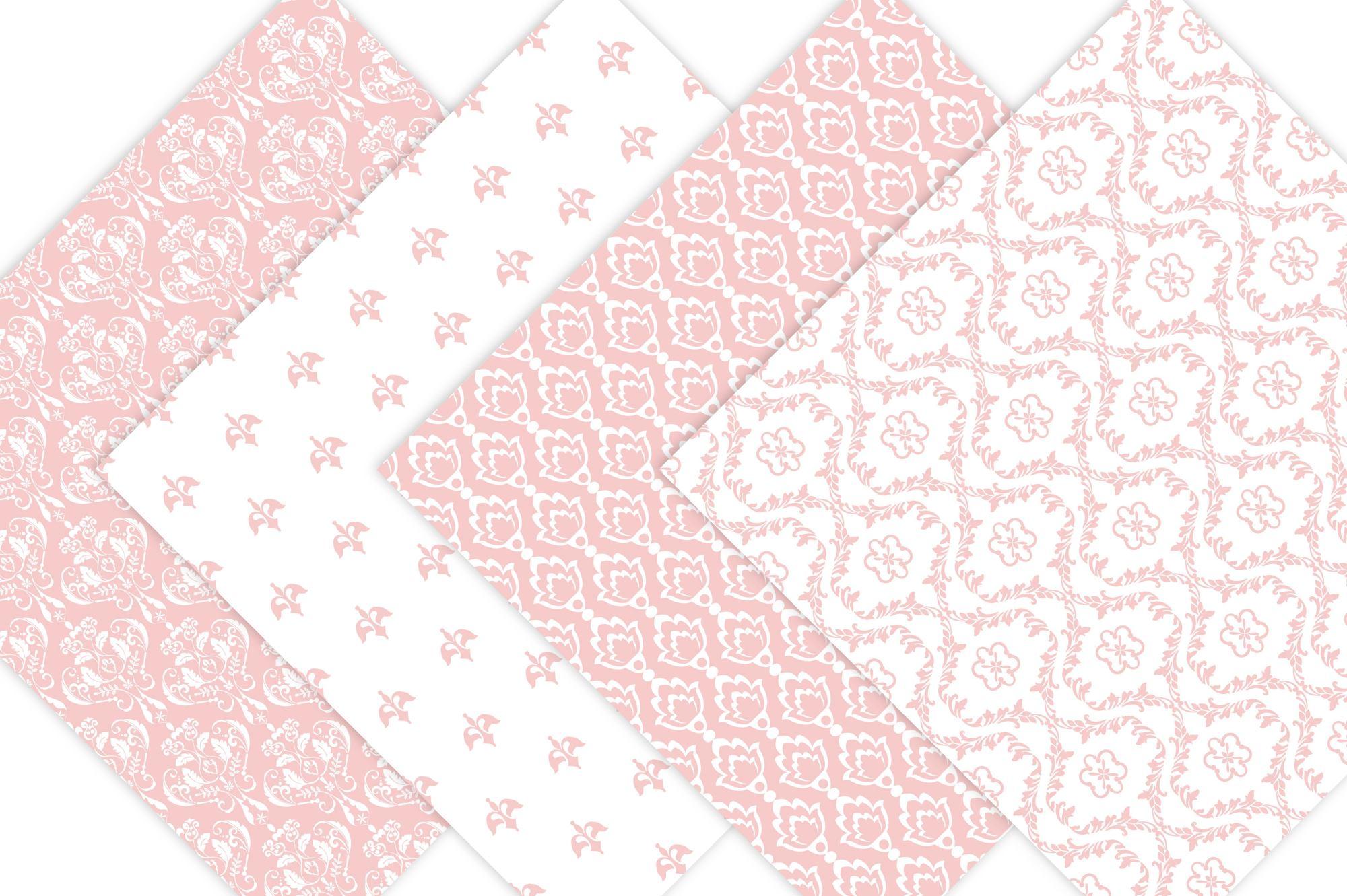 Pink Damask Digital Paper example image 2