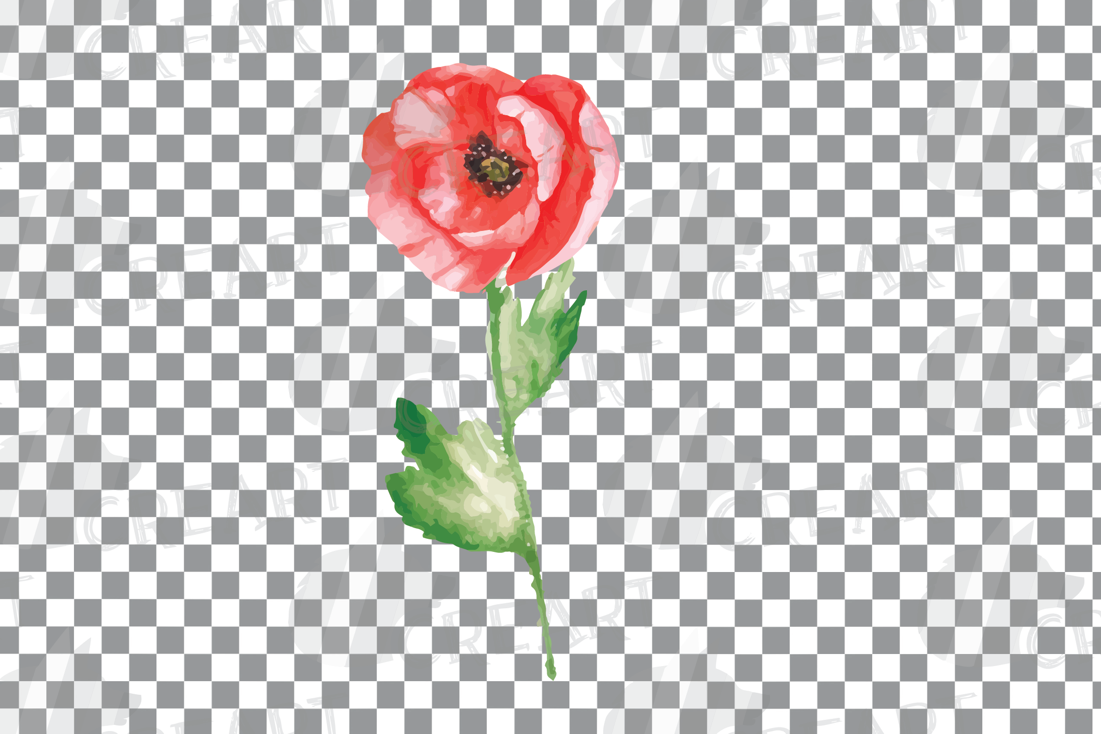Watercolor red poppy flower and leaf decor clip art. Poppies example image 13
