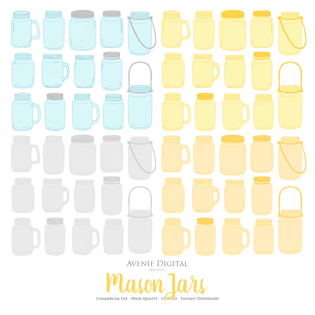 Yellow and Grey Mason Jar Floral Wedding Clipart example image 4