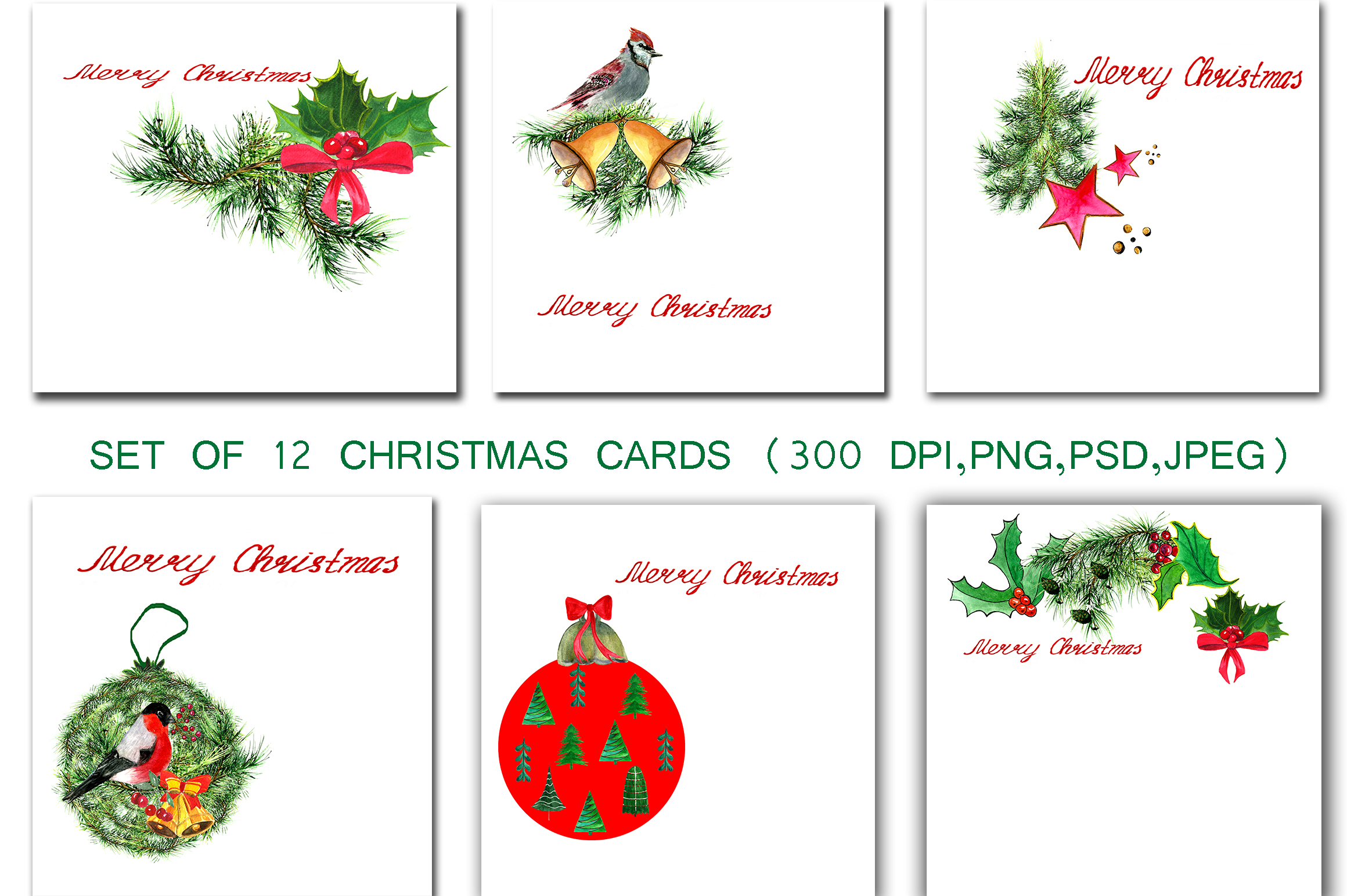 Set of greeting Christmas cards example image 2