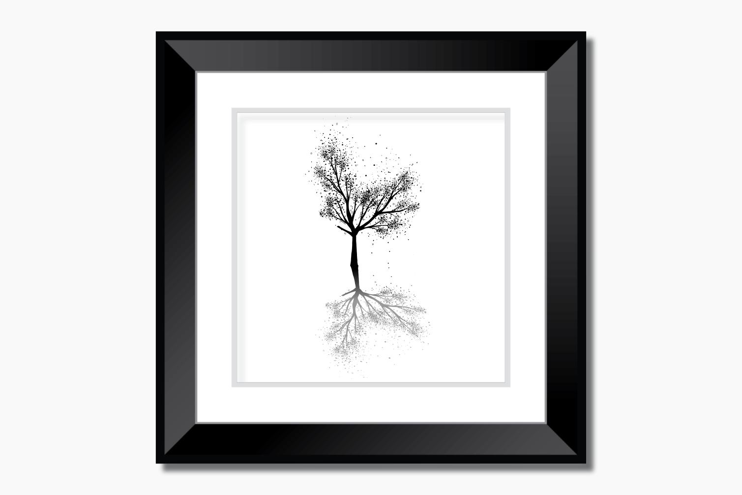 Black Tree Ink Art, A1, SVG example image 9