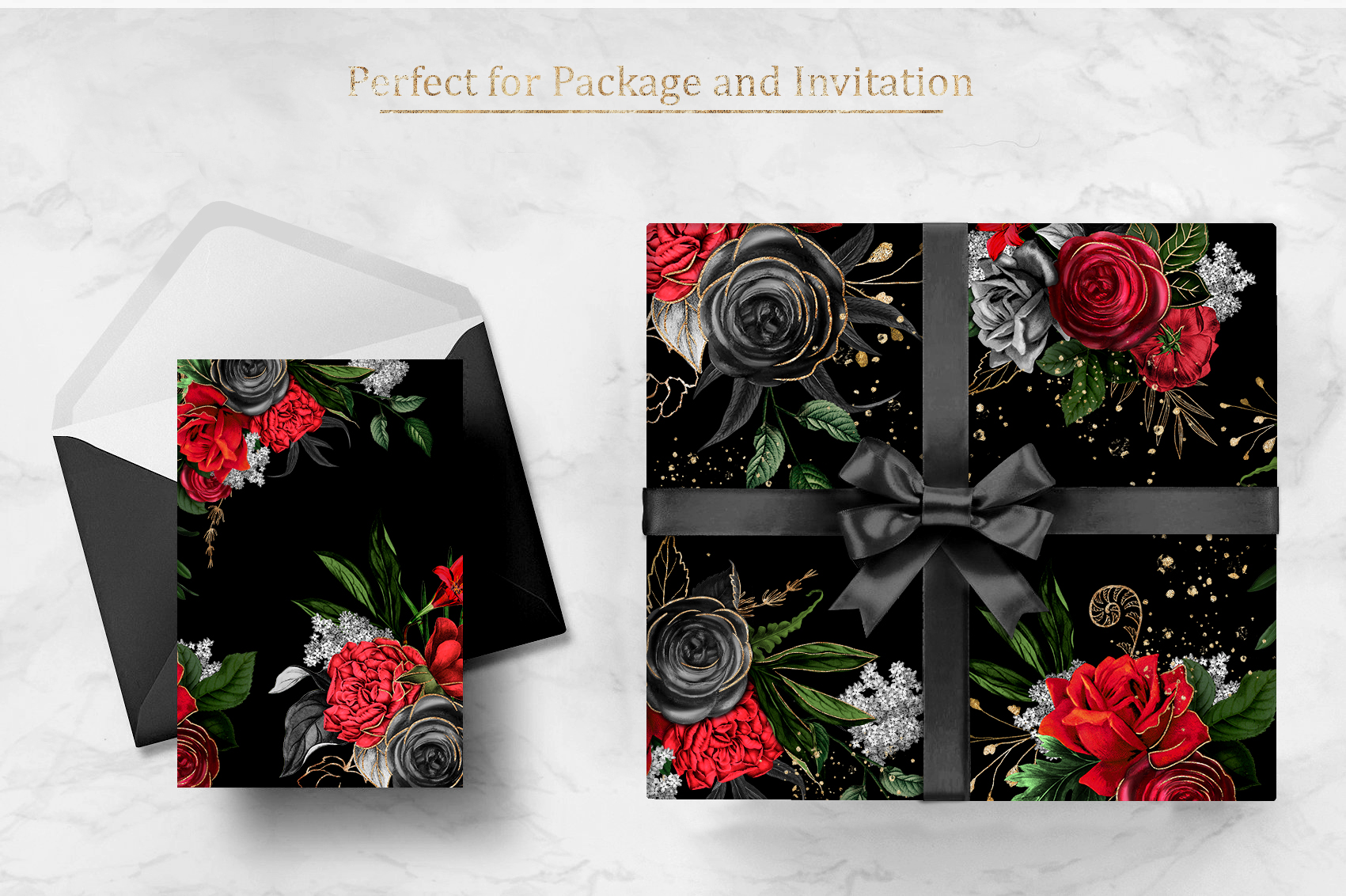 Red Flowers and Gold| Roses vintage and gold example image 10