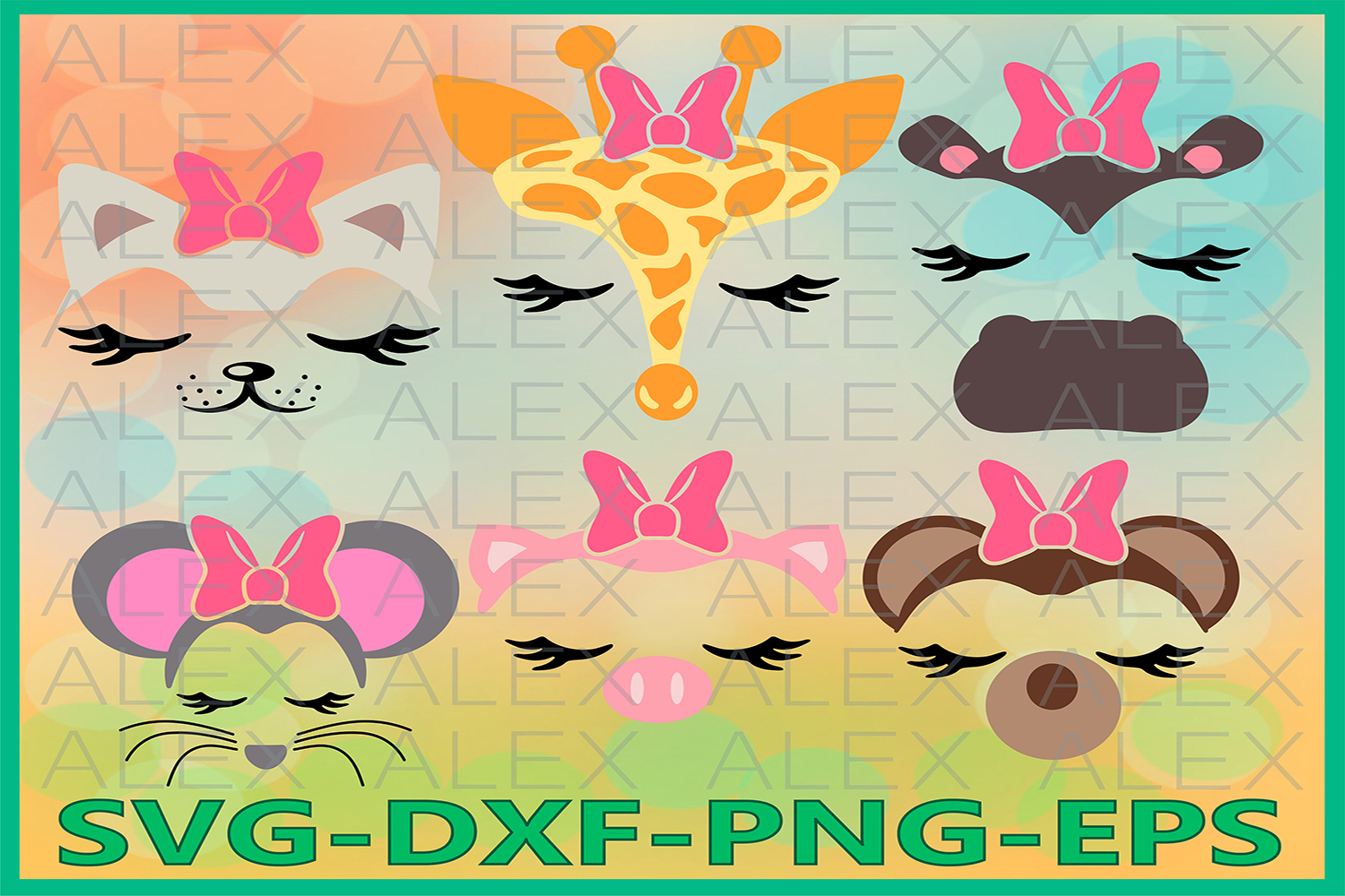 Animal Face Svg, Animals with a bow, Eyelashes Svg example image 1