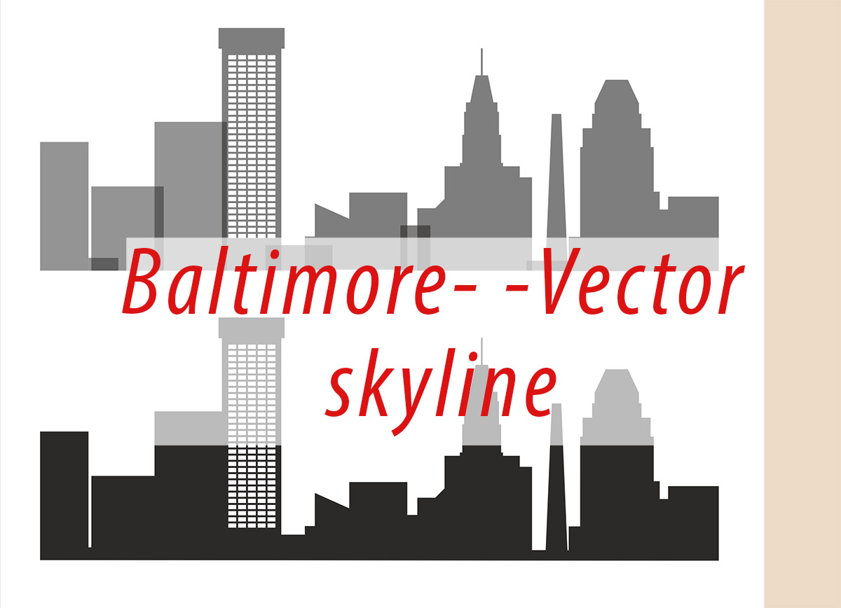 Baltimore Vector, Maryland Skyline USA city, SVG, JPG, PNG, DWG, CDR, EPS, AI example image 1