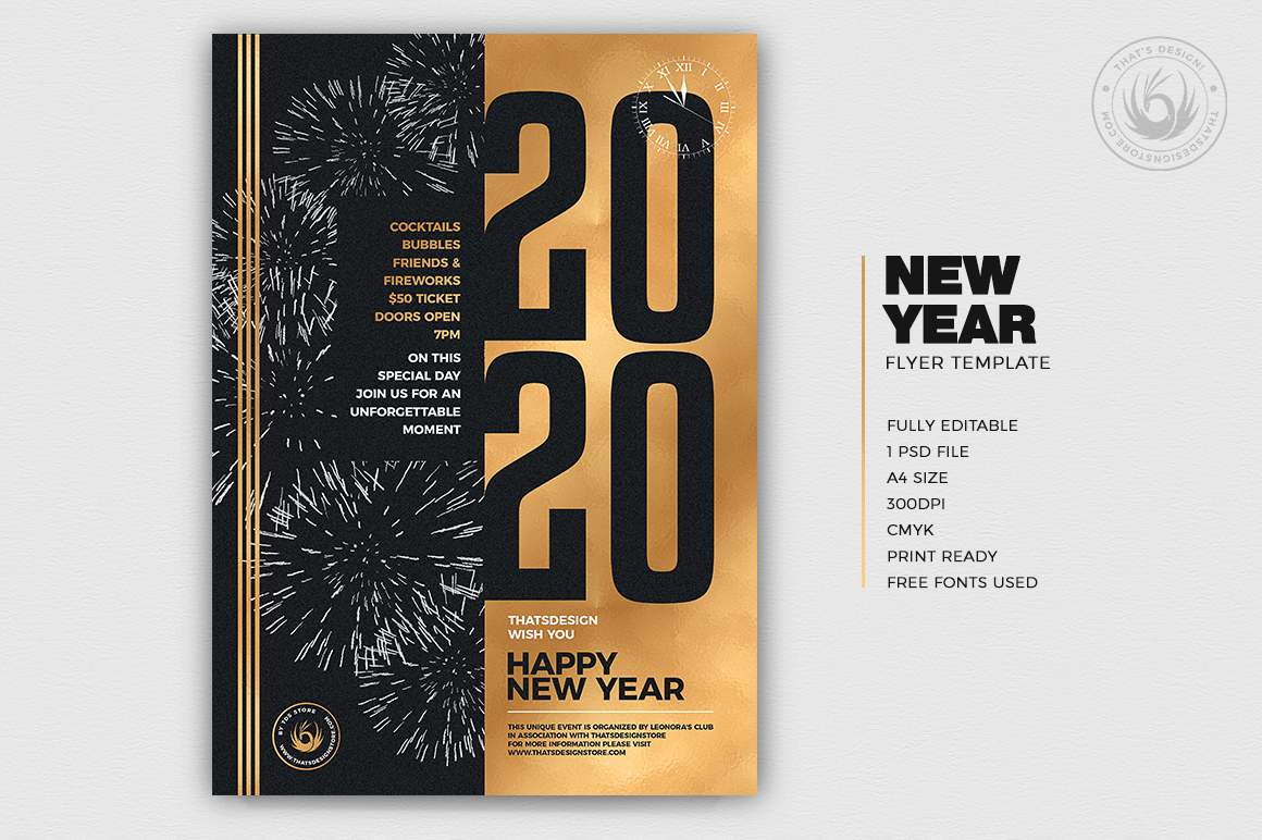 New Year Flyer Template V9 example image 2