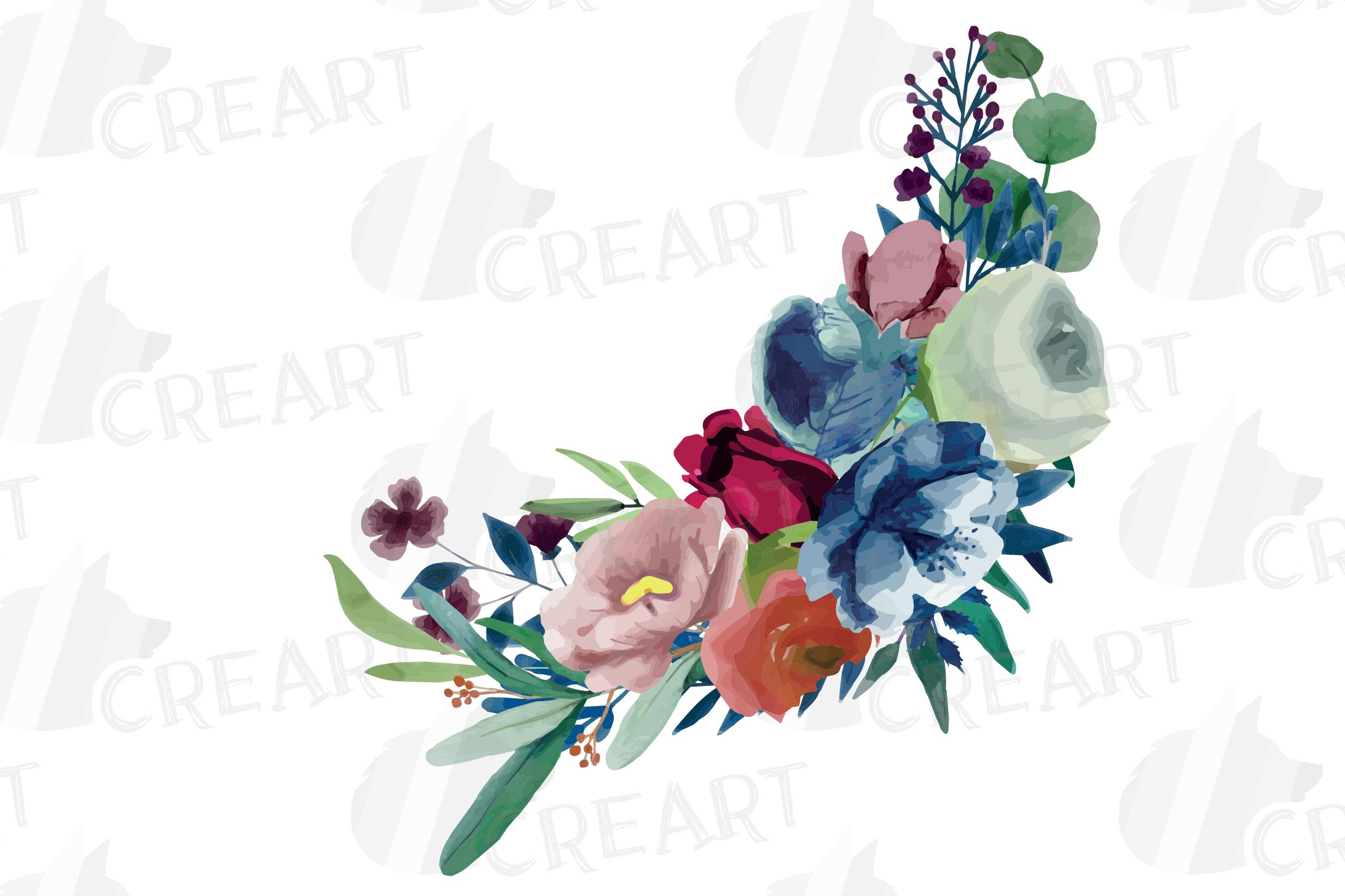Colorful navy and burgundy floral watercolor wedding bouquet example image 13