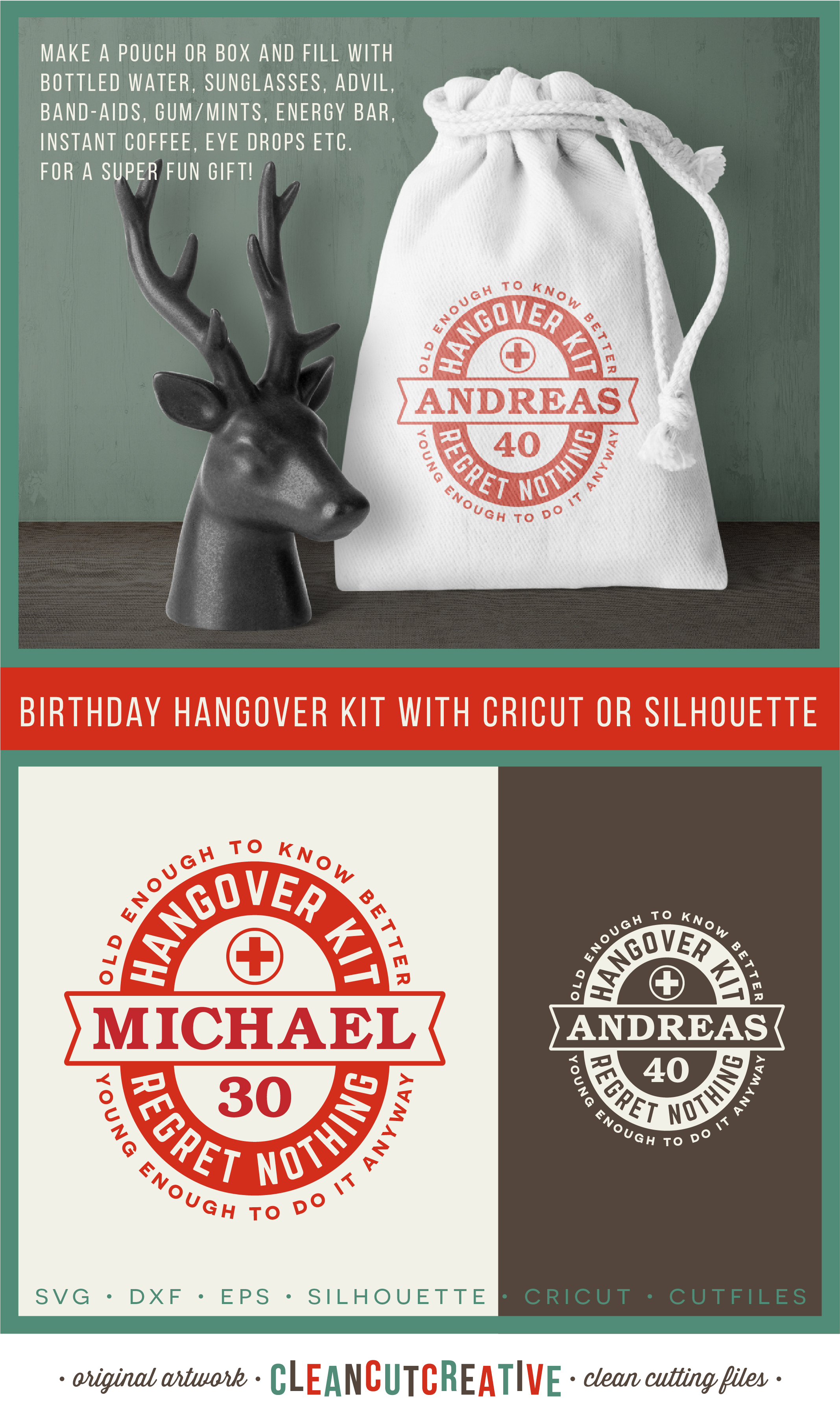 Birthday Hangover Kit | Personalized 30 40 50 Birthday SVG example image 4