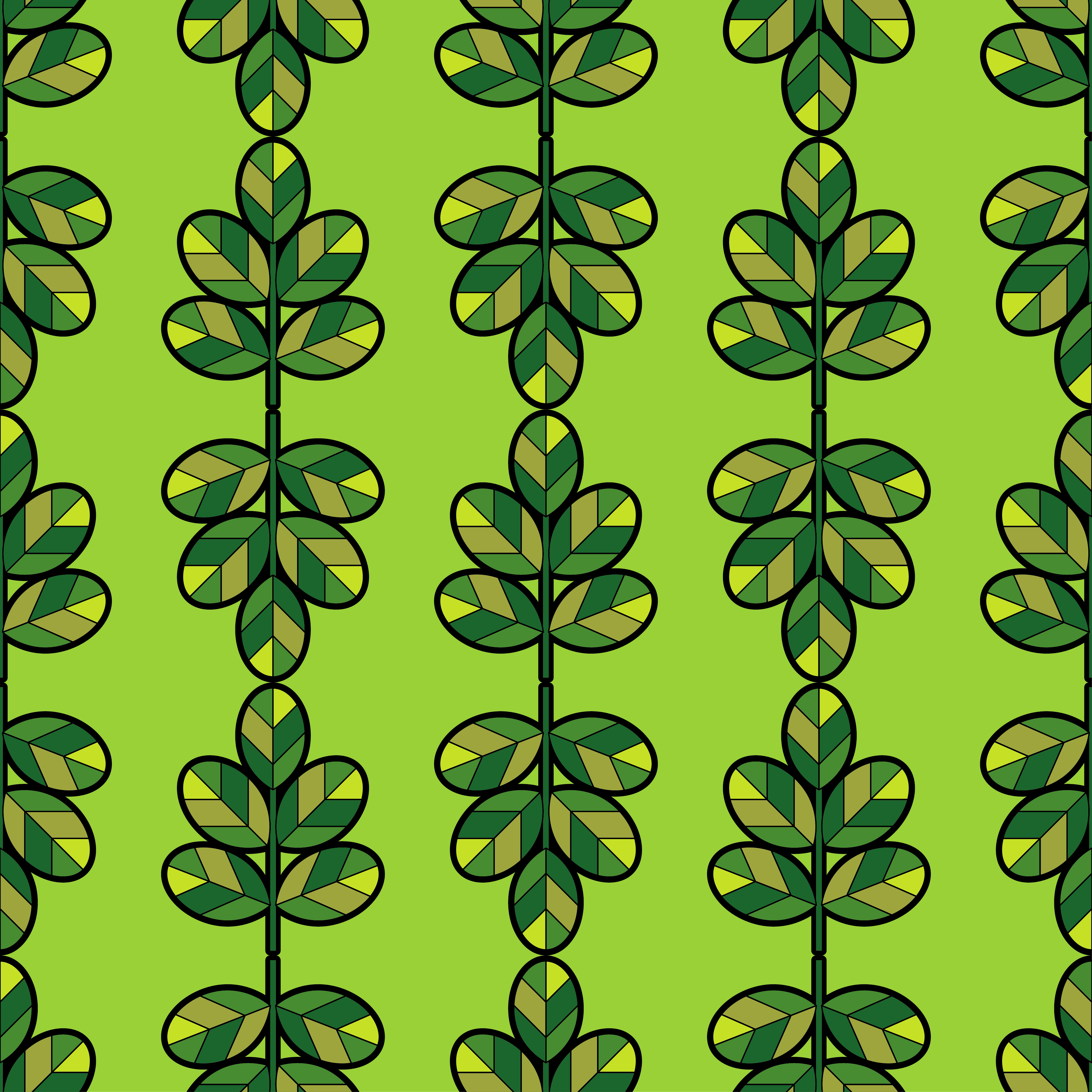 Seamless background with decorative green leaves with a black outline on a green background. Vector illustration. Flat design.  example image 1
