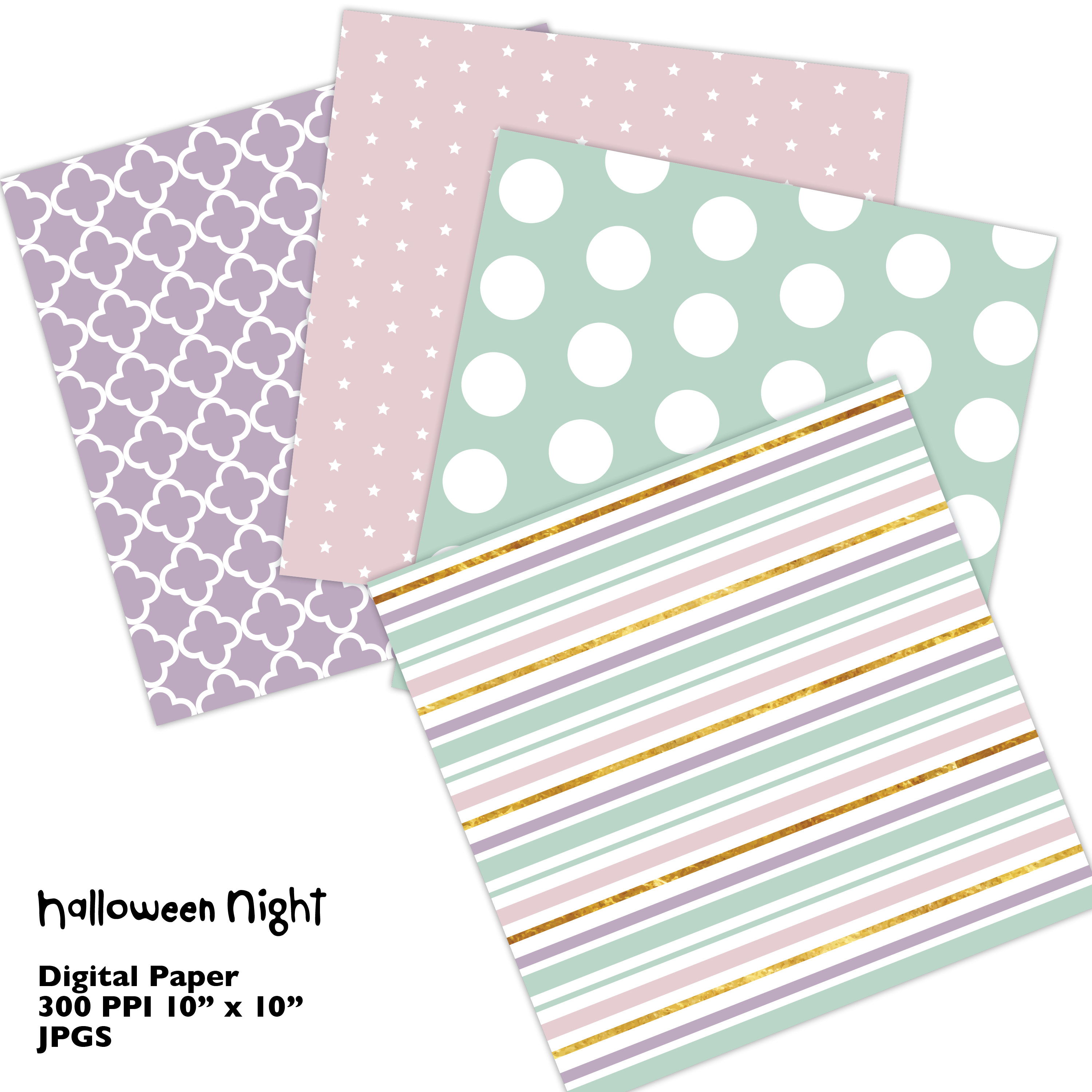 Hand Drawn Halloween Digital Paper in Pastel Colors example image 3