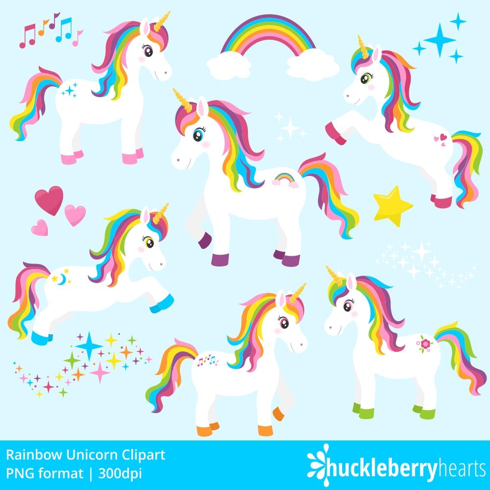 Rainbow Unicorn Clipart example image 2