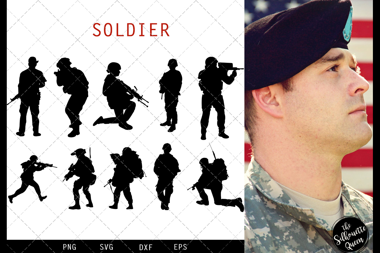 Soldier svg file, military svg cut file, silhouette studio example image 1