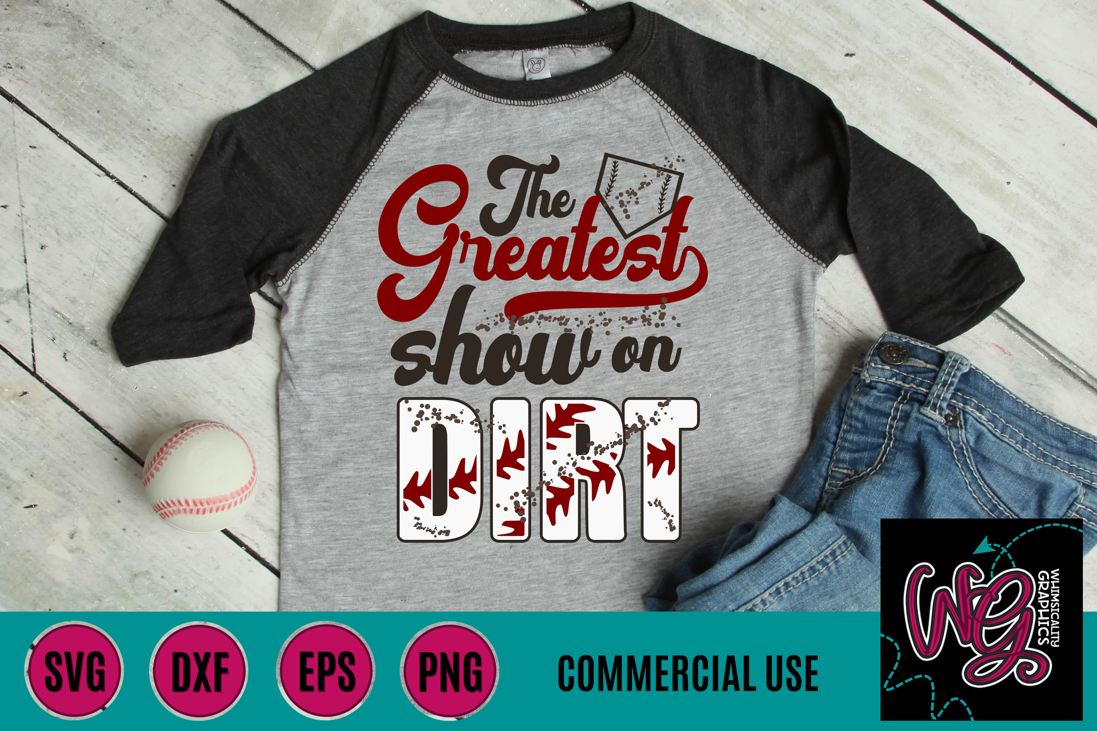 Greatest Show On Dirt Baseball Softball SVG DXF PNG EPS Comm example image 1