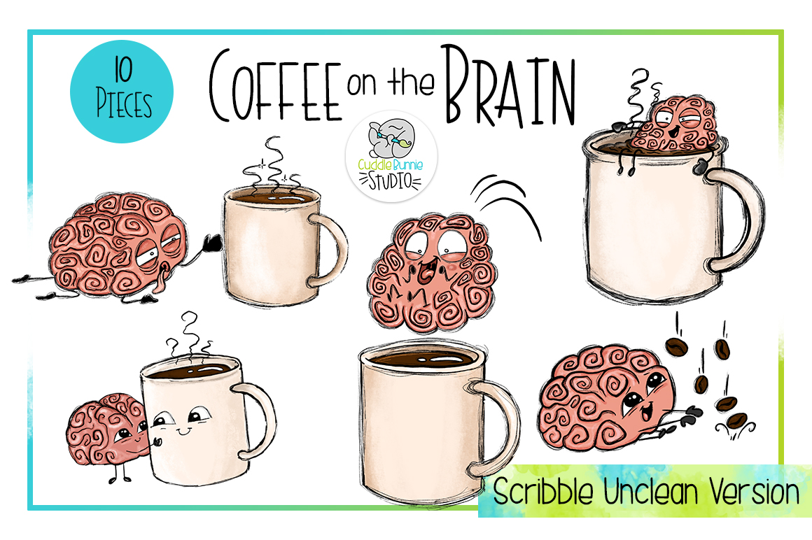 Coffee on the Brain | Funny Coffee Brain Clipart example image 4