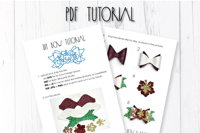 6 Hair bow template SVG, Hawaii sea lather bow template example image 7