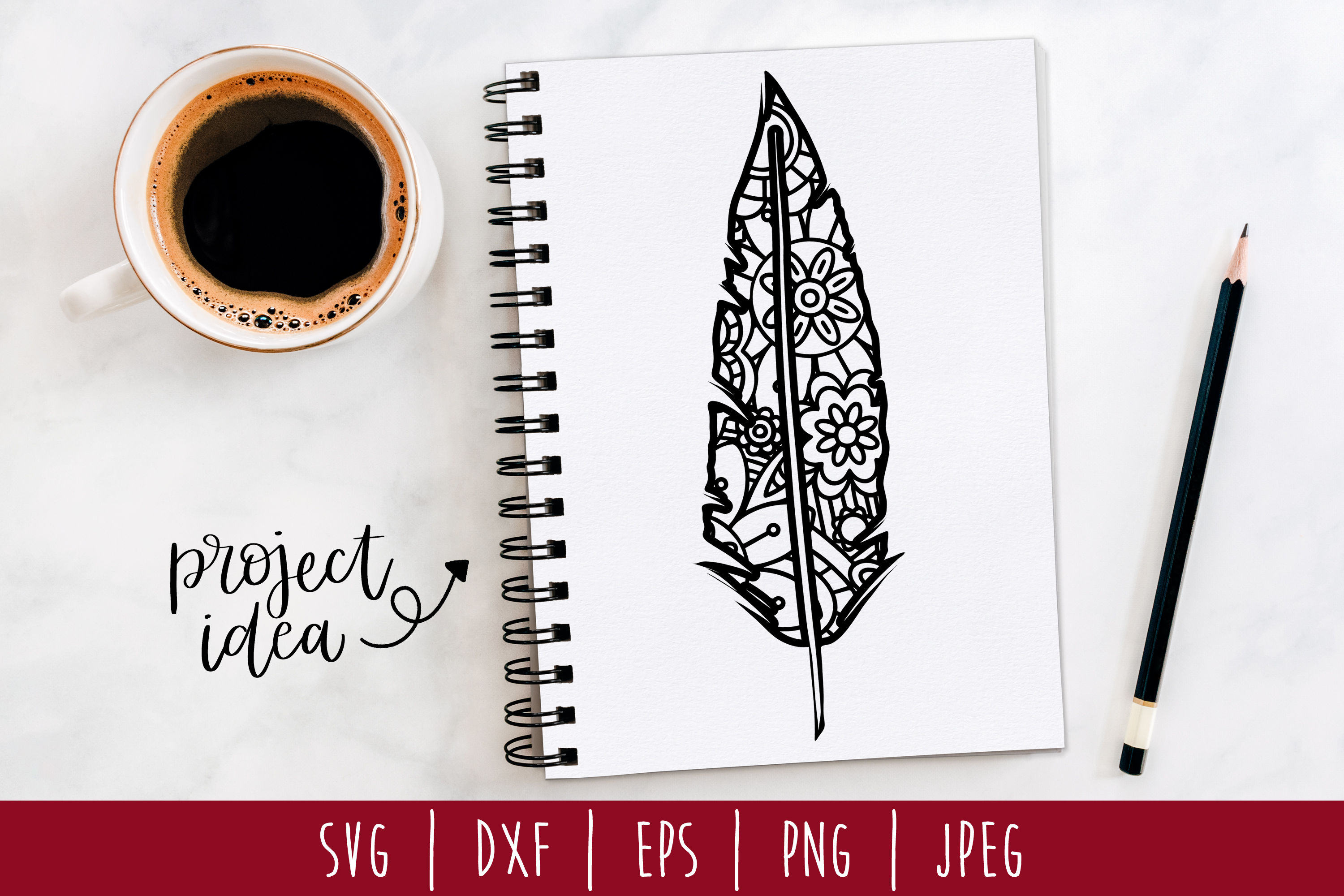 Zentangle Feather SVG, DXF, EPS, PNG JPEG example image 1