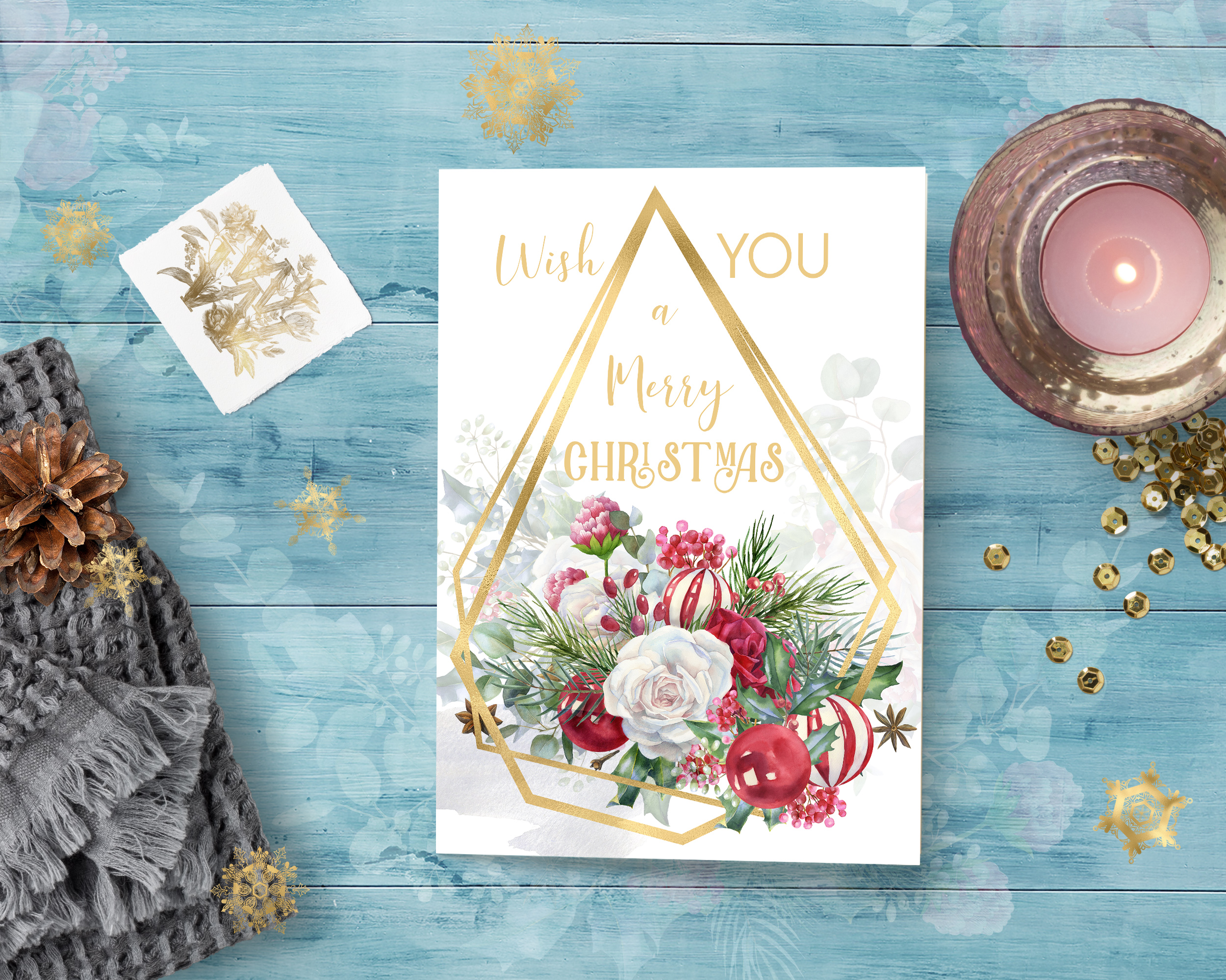 Christmas floral border clipart, Watercolor winter frame example image 9