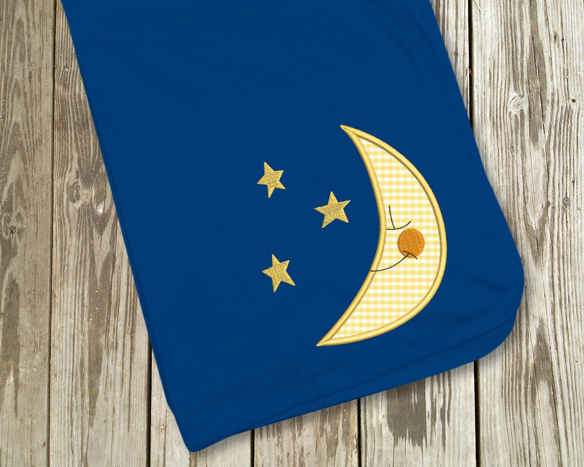Moon and Stars Applique Embroidery Design example image 1