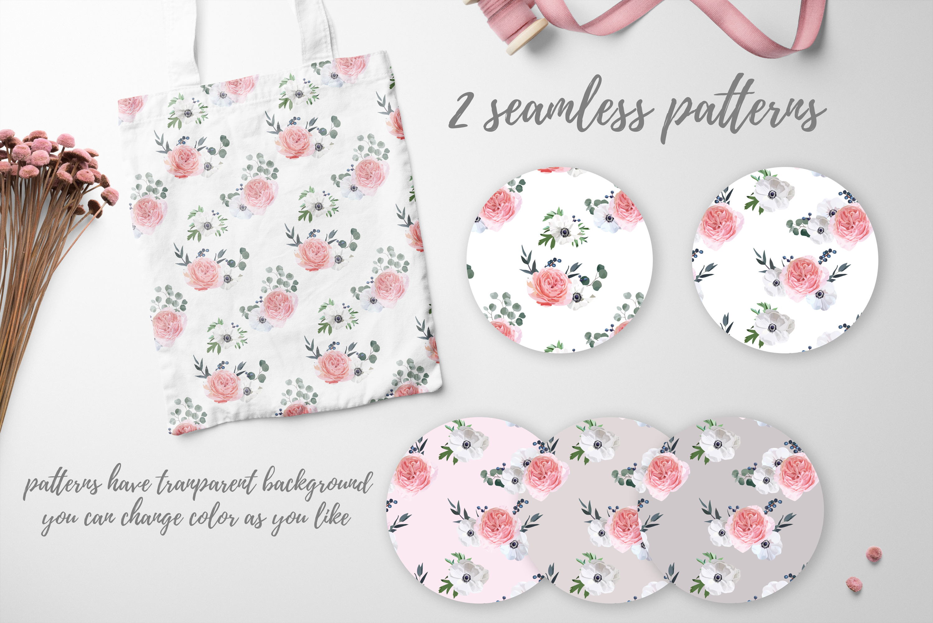 Garden Rose and Anemone - floral vector set example image 9