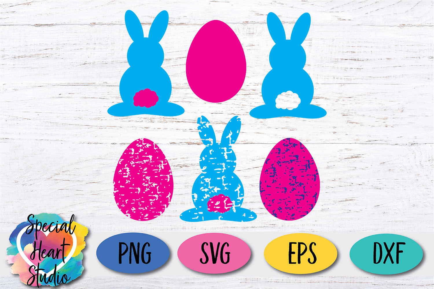 Bunny and Eggs - Easter Shapes in solid and grunge SVG example image 1