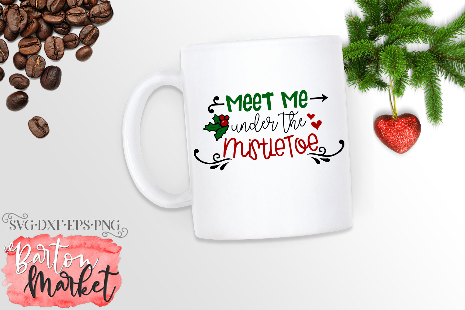 Meet Me Under the MistletoeSVG DXF EPS PNG example image 1