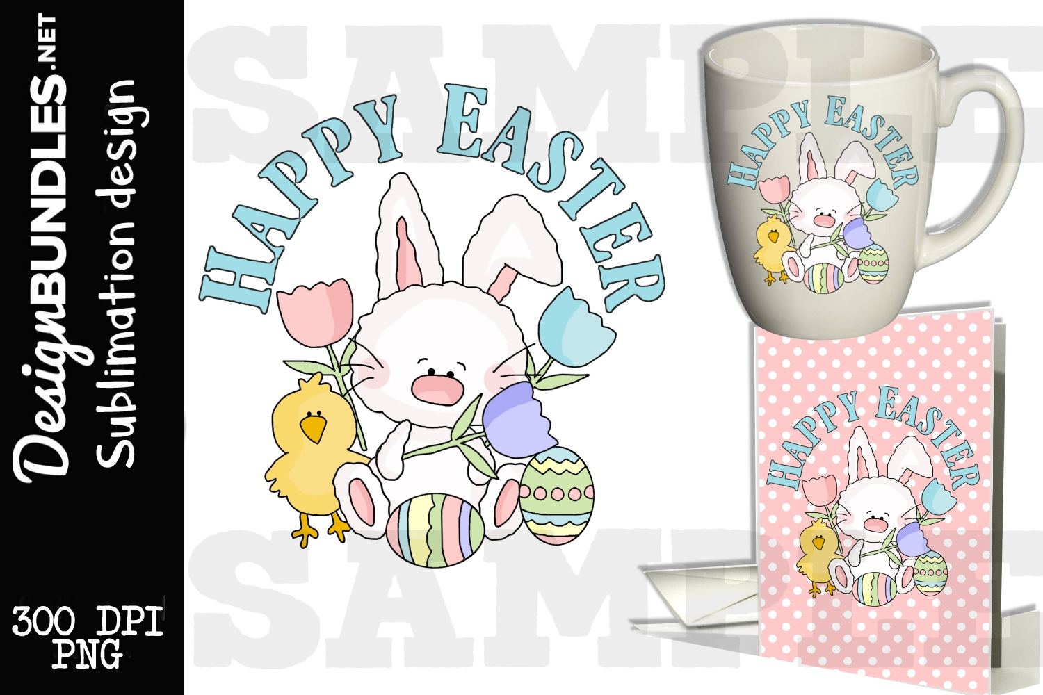 Happy Easter Bunny Sublimation Design example image 1