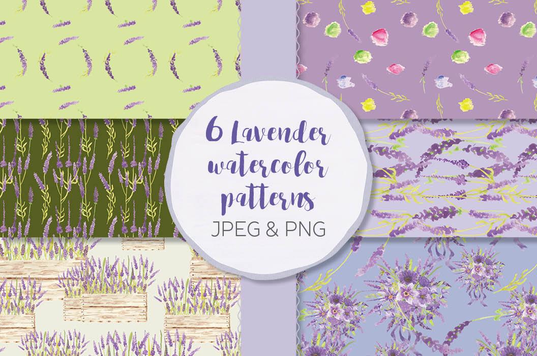 Watercolor clip art bundle in Lavender example image 7