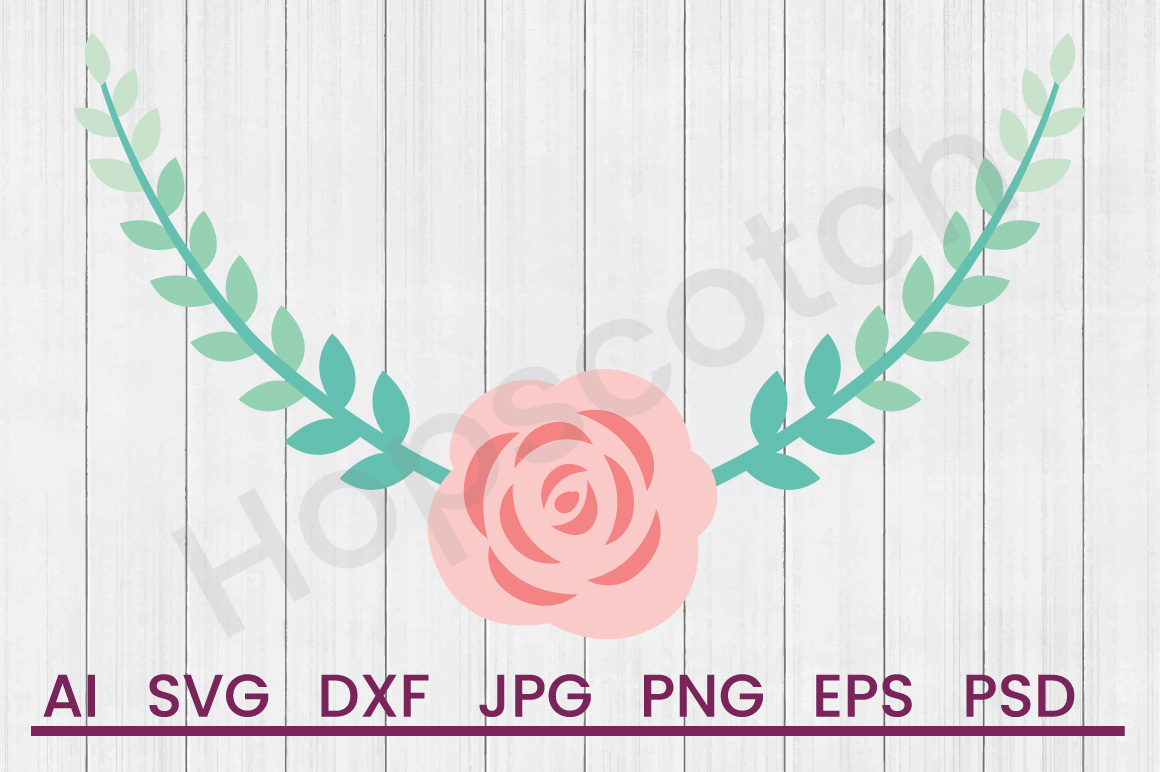 Floral Wreath SVG, DXF File, Cuttatable File example image 1