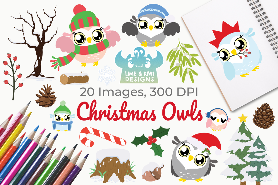 Christmas Owls Clipart, Instant Download Vector Art example image 1