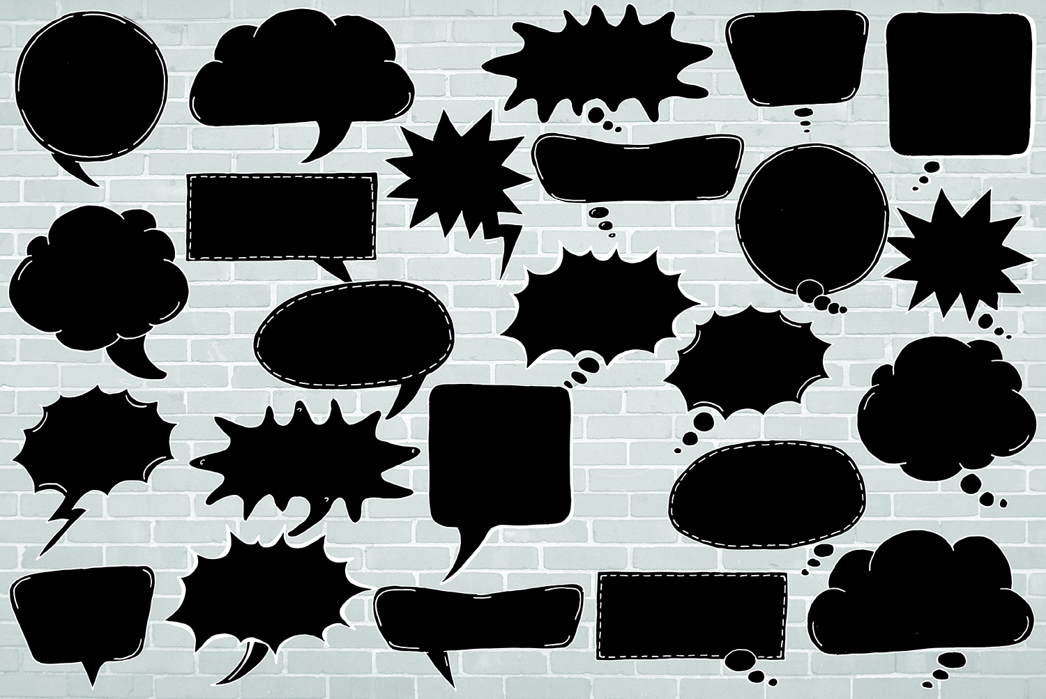 24 Hand Drawn Black and White Speech Bubbles Doodle Clipart example image 2