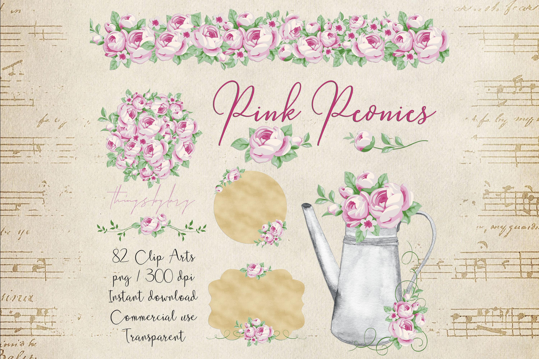 82 Romantic Pink Peony Clip Art Peony Border Bouquet Garden example image 1