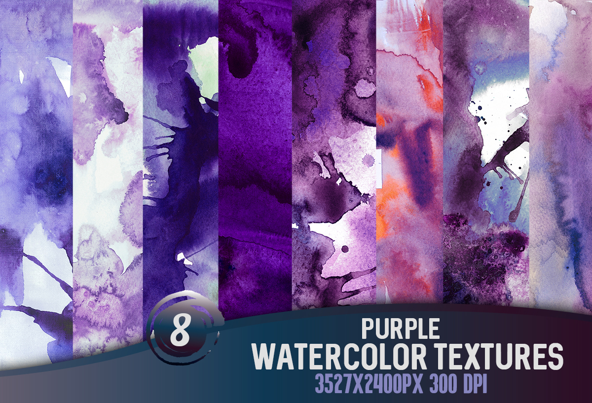 8 Purple watercolor textures, HQ 3527x2400px 300 DPI JPG example image 1