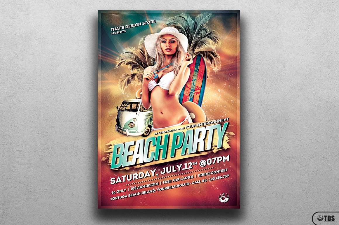 Beach Party Flyer Template V1 example image 1