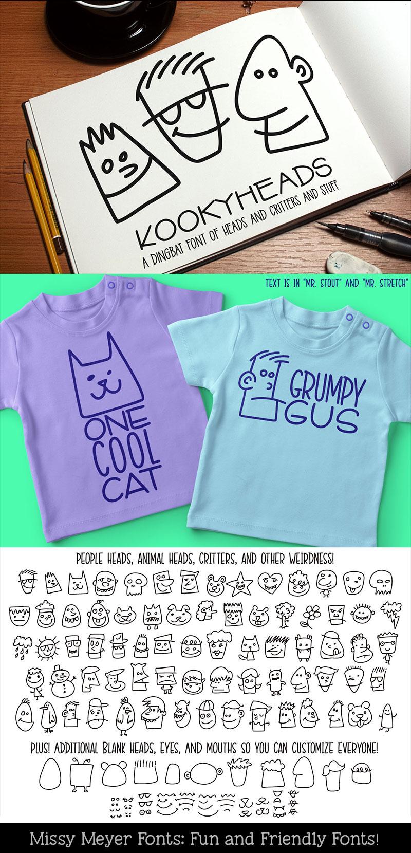 Kookyheads - a dingbat doodle font! example image 7