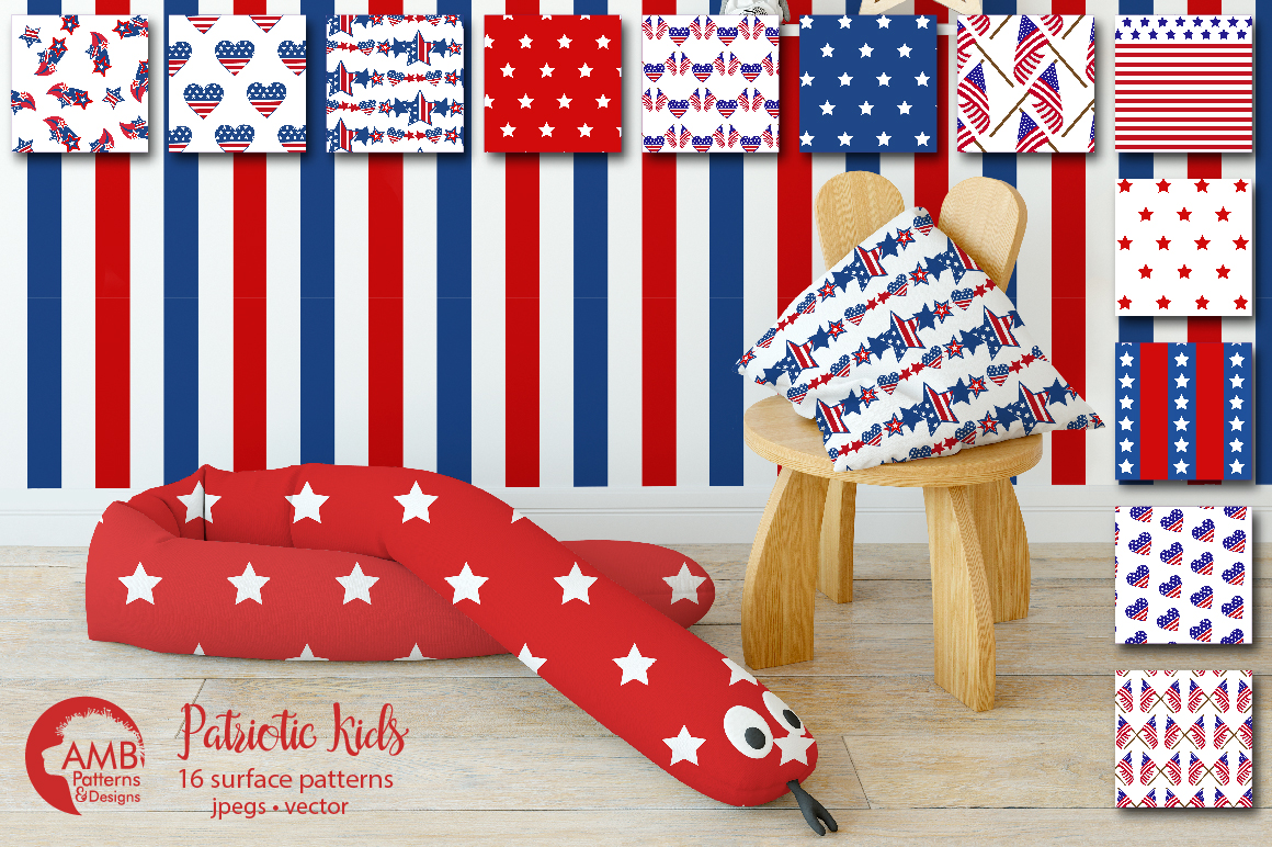 Patriotic, Fourth of July patterns, paper AMB-1357 example image 4