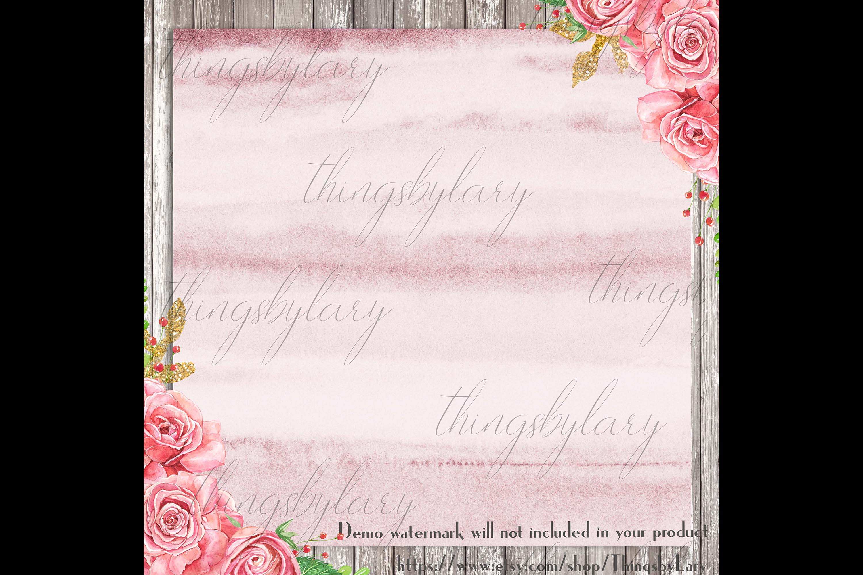 30 Ombre Rosegold Painted Brush Watercolor Digital Papers example image 3