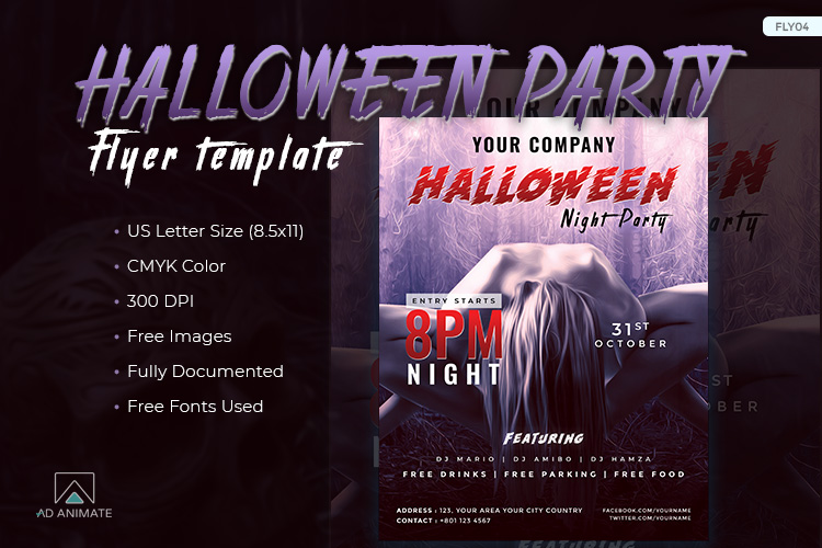 Halloween Night Party Flyer example image 1