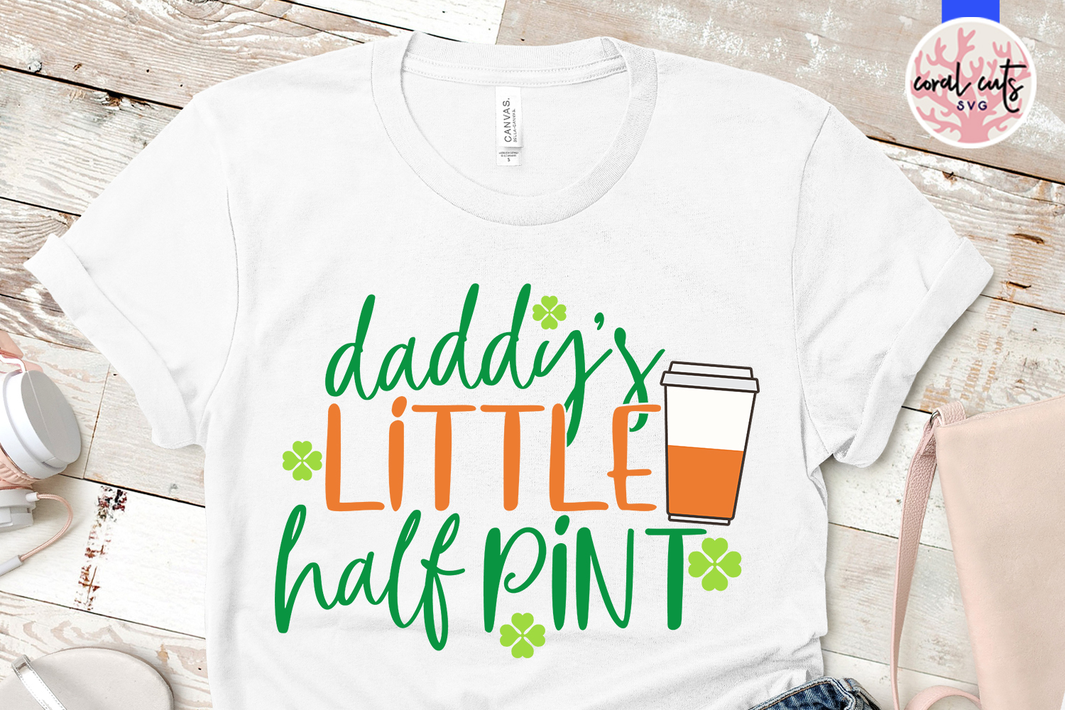 Daddys little half pint - St. Patrick's Day SVG EPS DXF PNG example image 2