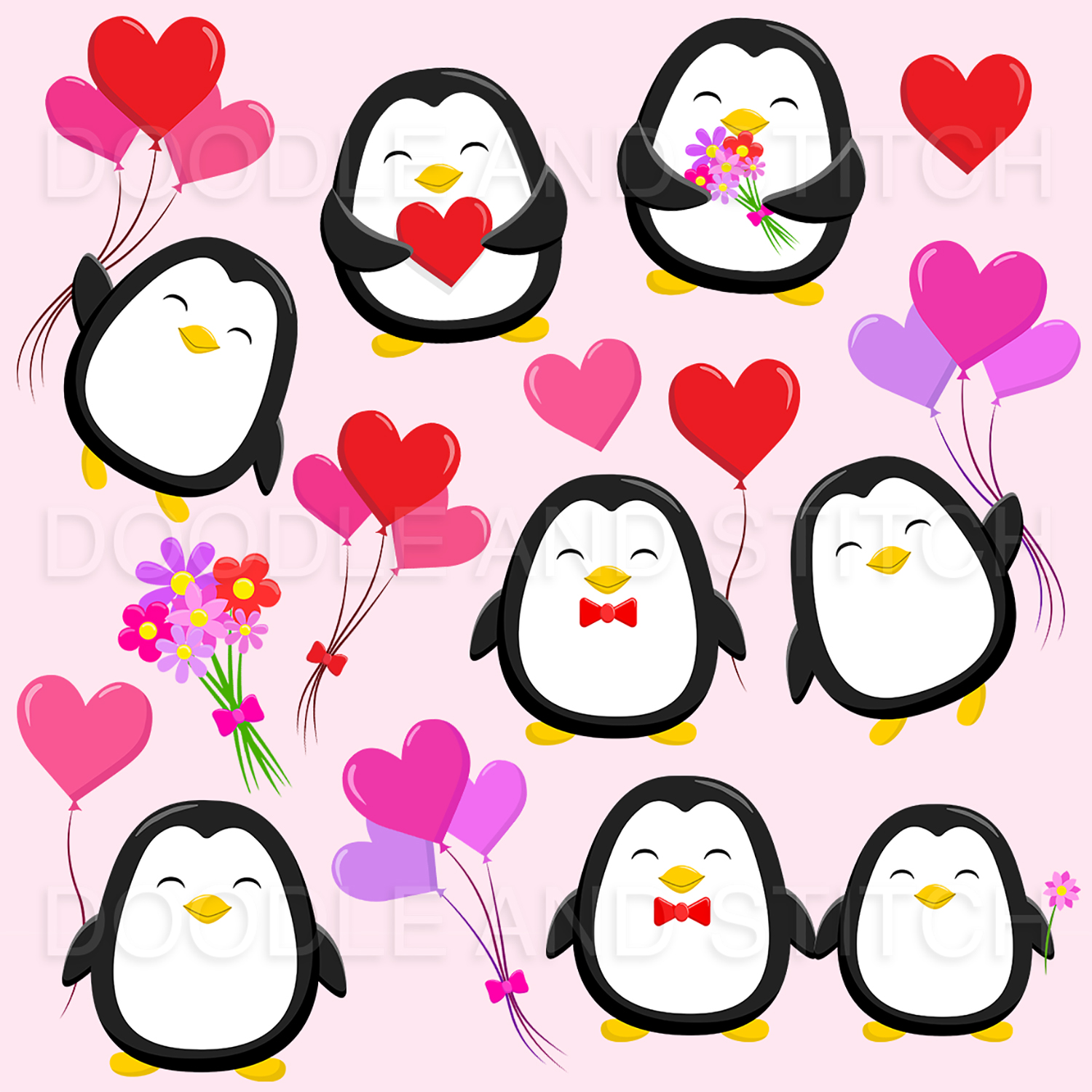 Valentines Penguin Clipart Illustrations example image 2