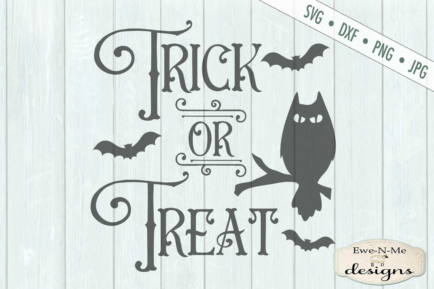 Trick or Treat - Halloween - Owl Bats - SVG DXF Files example image 2