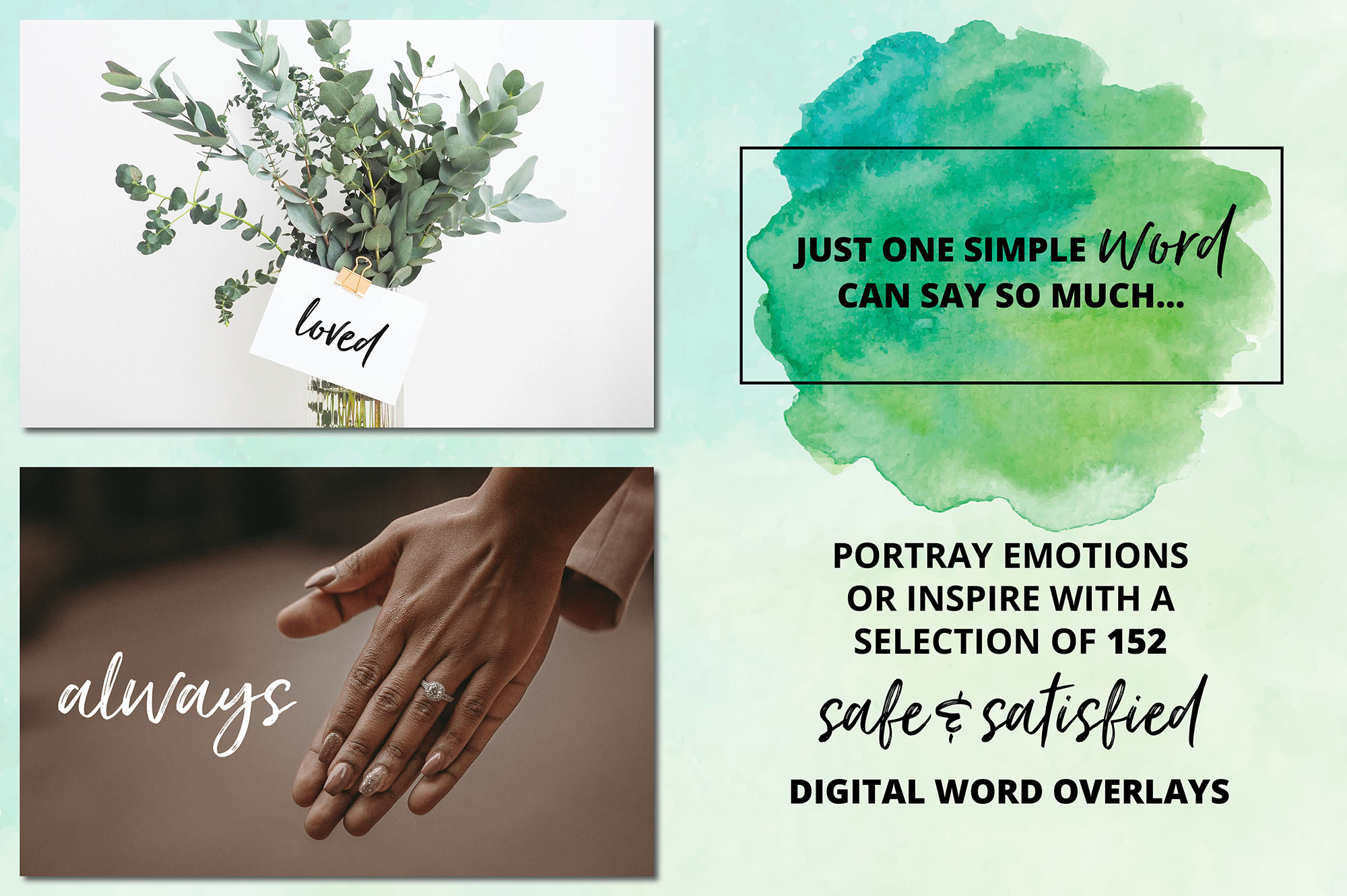 Digital Word Overlay BUNDLE - 320 Peaceful & Safe Emotions example image 7