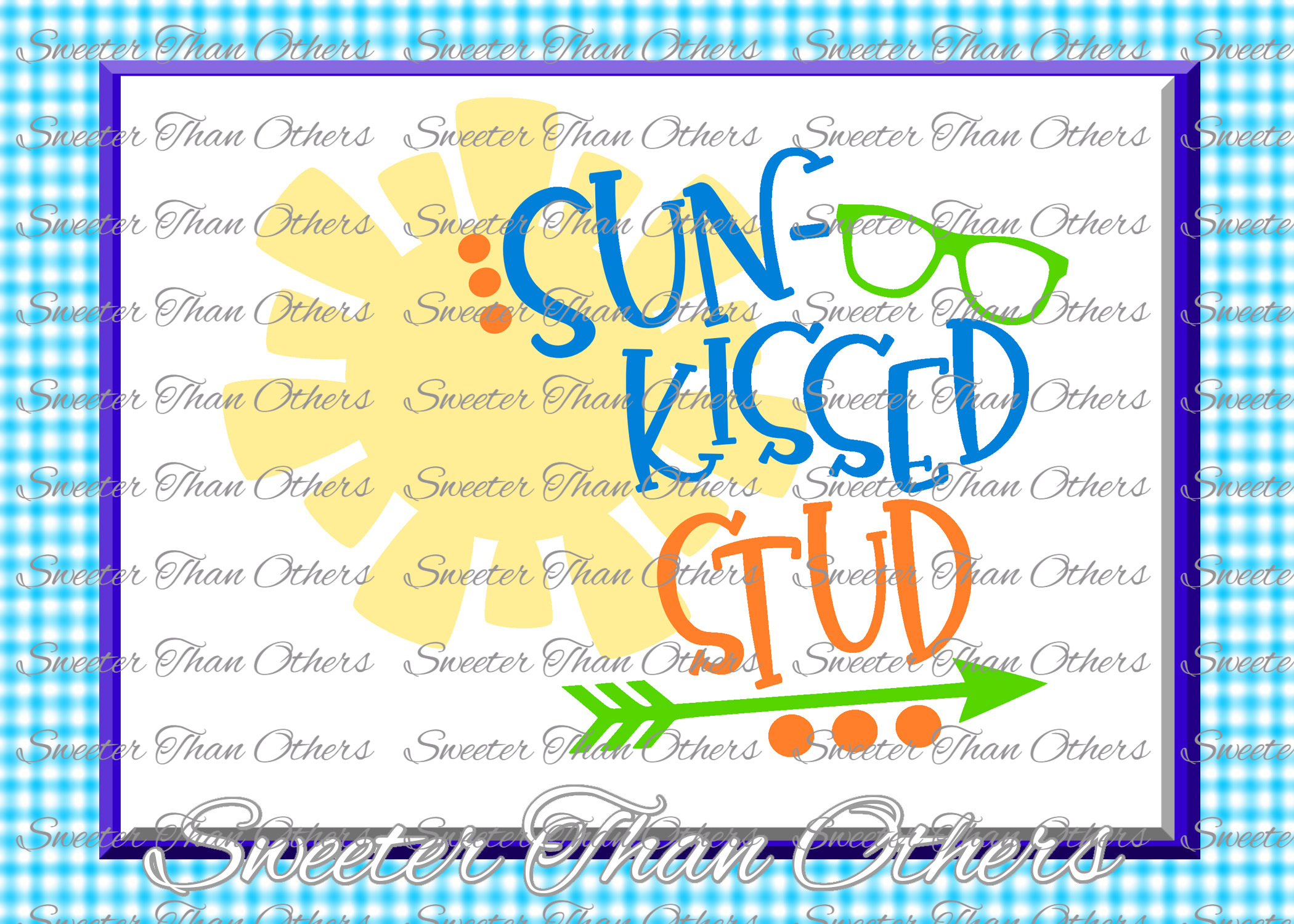 Beach Svg Sun Kissed Stud svg, Summer Beach pattern example image 1