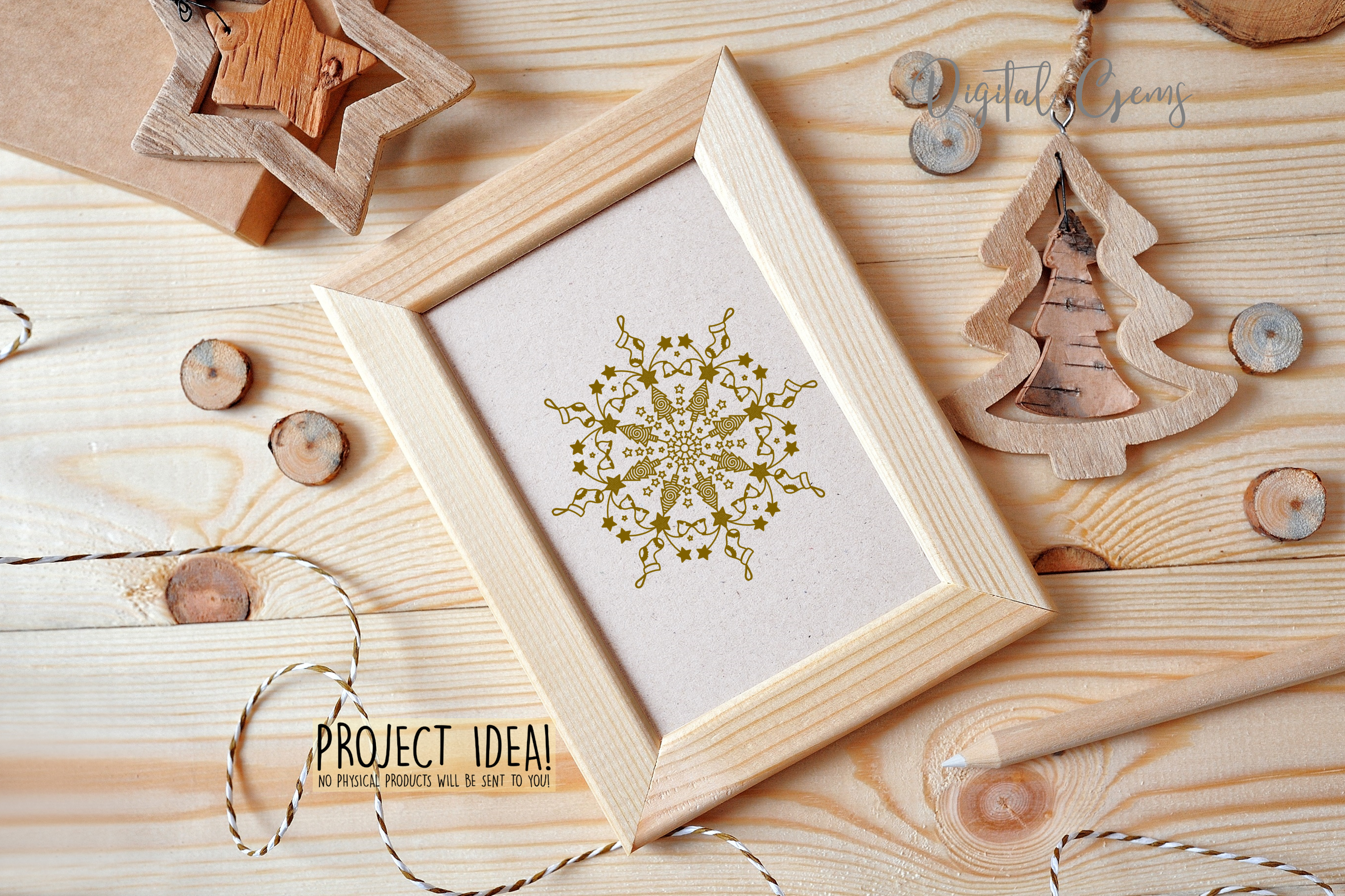 Christmas mandala, single line sketch file / foil quill file example image 5