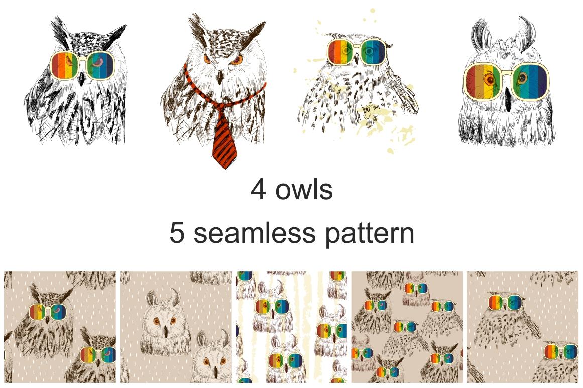 Fashion owls set example image 2